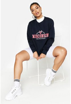 Womens Navy Wisconsin Slogan Sweat