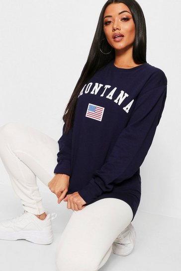 Womens Navy Montana Slogan Sweat