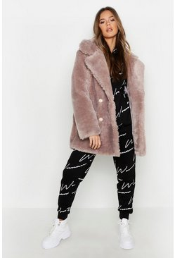 Womens Mauve Double Breasted Faux Fur Teddy Coat