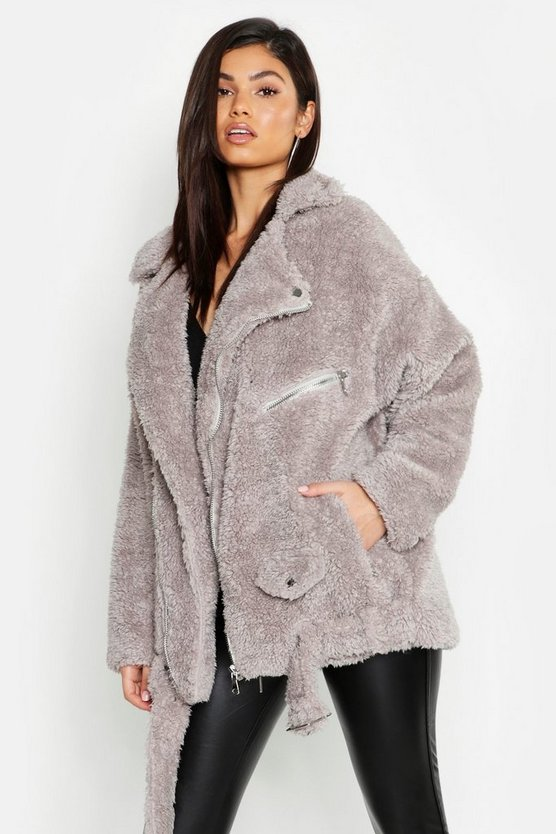 Womens Grey Oversized Teddy Aviator