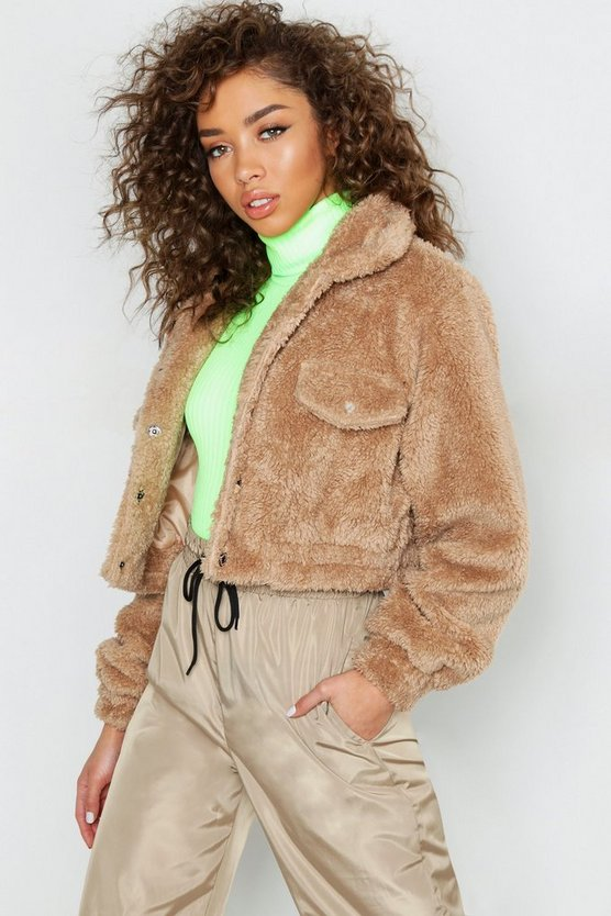 Cropped Faux Fur Teddy Trucker