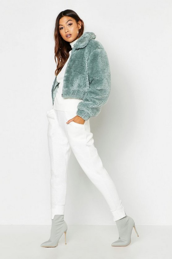 Womens Cropped Shaggy Faux Fur Bomber Jacket