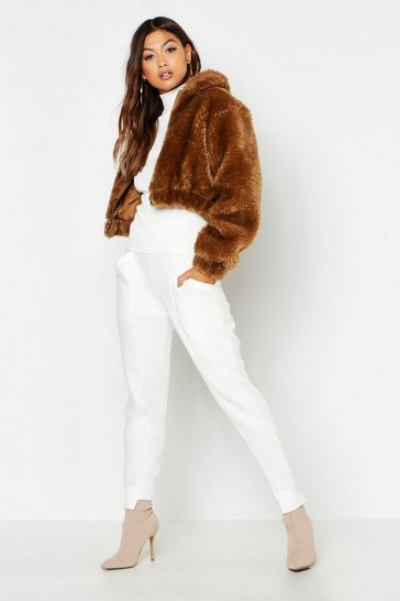 Womens Camel Cropped Shaggy Faux Fur Bomber Jacket