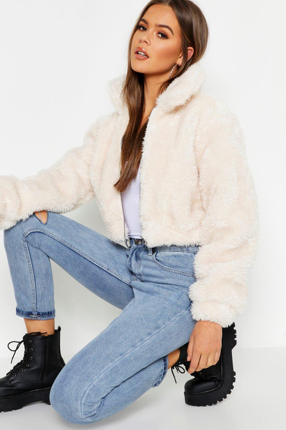 dd3c4835bccc Cropped Shaggy Faux Fur Bomber Jacket. Hover to zoom