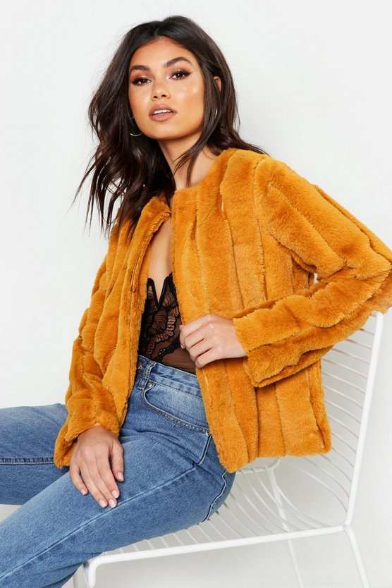 Womens Mustard Panelled Faux Fur Coat