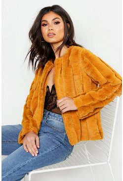 Panelled Faux Fur Coat, Mustard, Donna