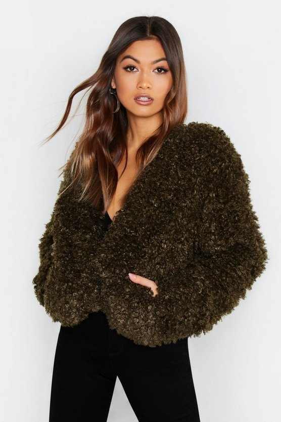 Womens Olive Shaggy Faux Fur Coat