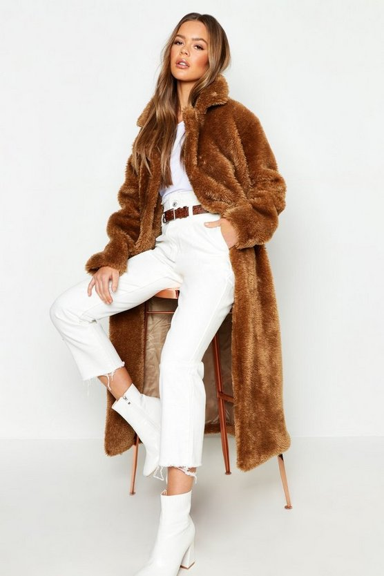 Womens Camel Longline Faux Fur Teddy Coat