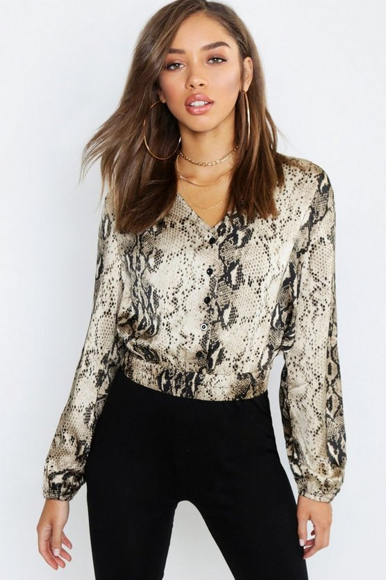 Womens Sand Satin Snake Print Button Detail Crop Blouse