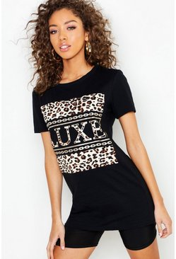 Womens Black Animal Print Luxe Slogan T-Shirt