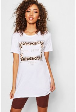 Womens White Leopard Paris Slogan T-Shirt