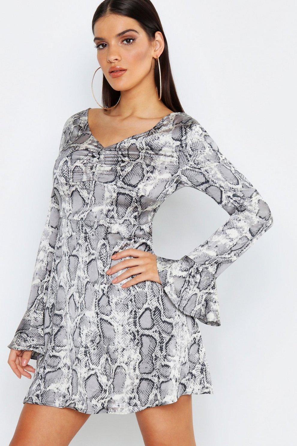 f9233c73bd90 Satin Snake Print Long Flared Sleeve Skater Dress | Boohoo