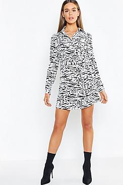 Belted Tiger Print Woven Shirt Dress