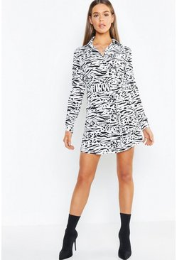 Womens Black Belted Tiger Print Woven Shirt Dress