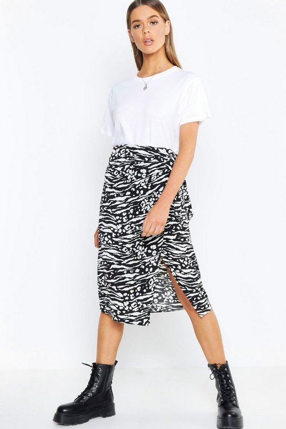 Black Tiger Print Tie Waist Wrapped Woven Skirt