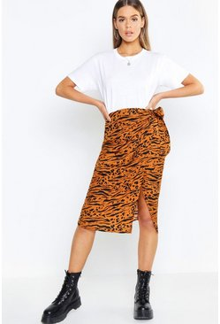 Womens Mustard Tiger Print Tie Waist Wrapped Woven Skirt