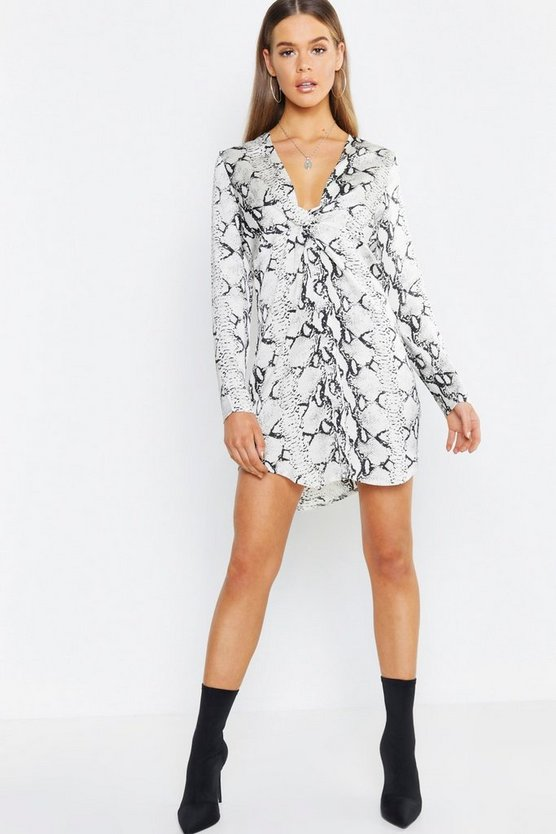 Womens Grey Snake Print Knot Front Woven Shirt Dress