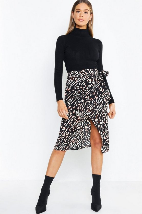 Leopard Tie Waist Wrapped Woven Skirt