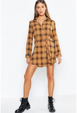 Womens Camel Tonal Check Belted Woven Shirt Dress