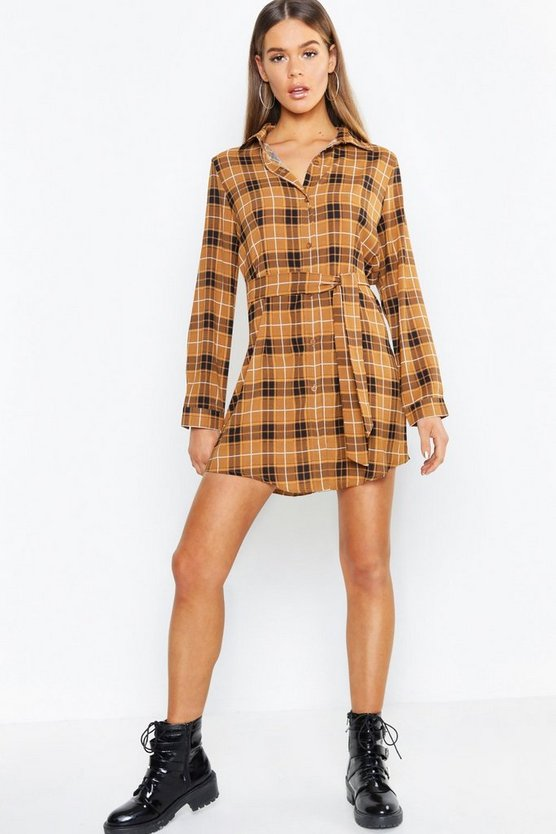 Tonal Check Belted Woven Shirt Dress