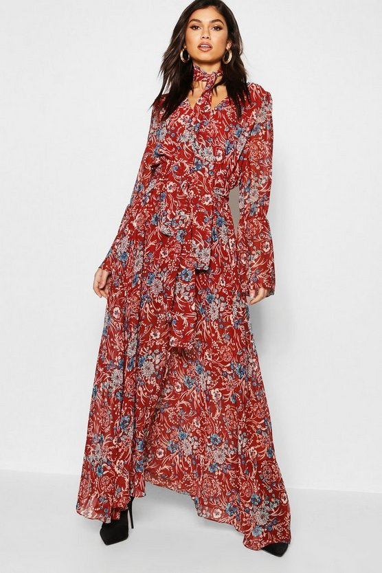 Gabriella Bohemian Tie Detail Maxi Dress