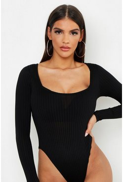 Womens Black Square Neck Long Sleeve Jumbo Rib Bodysuit