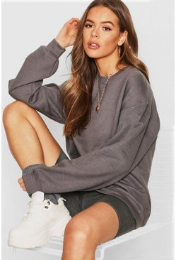 Oversize Sweat, Charcoal, Donna