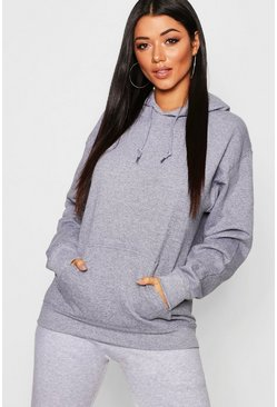 Oversize Hoodie, Charcoal, Donna