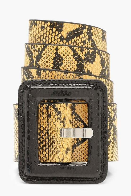 Womens Mustard Oversized Square Buckle Faux Snake Belt