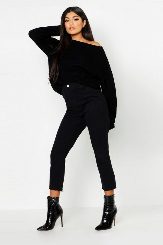 Womens Black Slash Neck Sweater