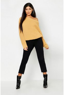 Womens Cream Slash Neck Sweater