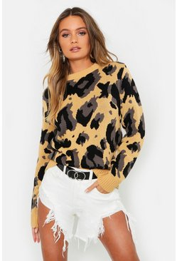 Womens Camel Oversized Leopard Print Sweater