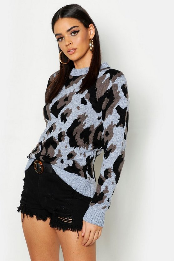 Womens Denim-blue Oversized Leopard Print Sweater