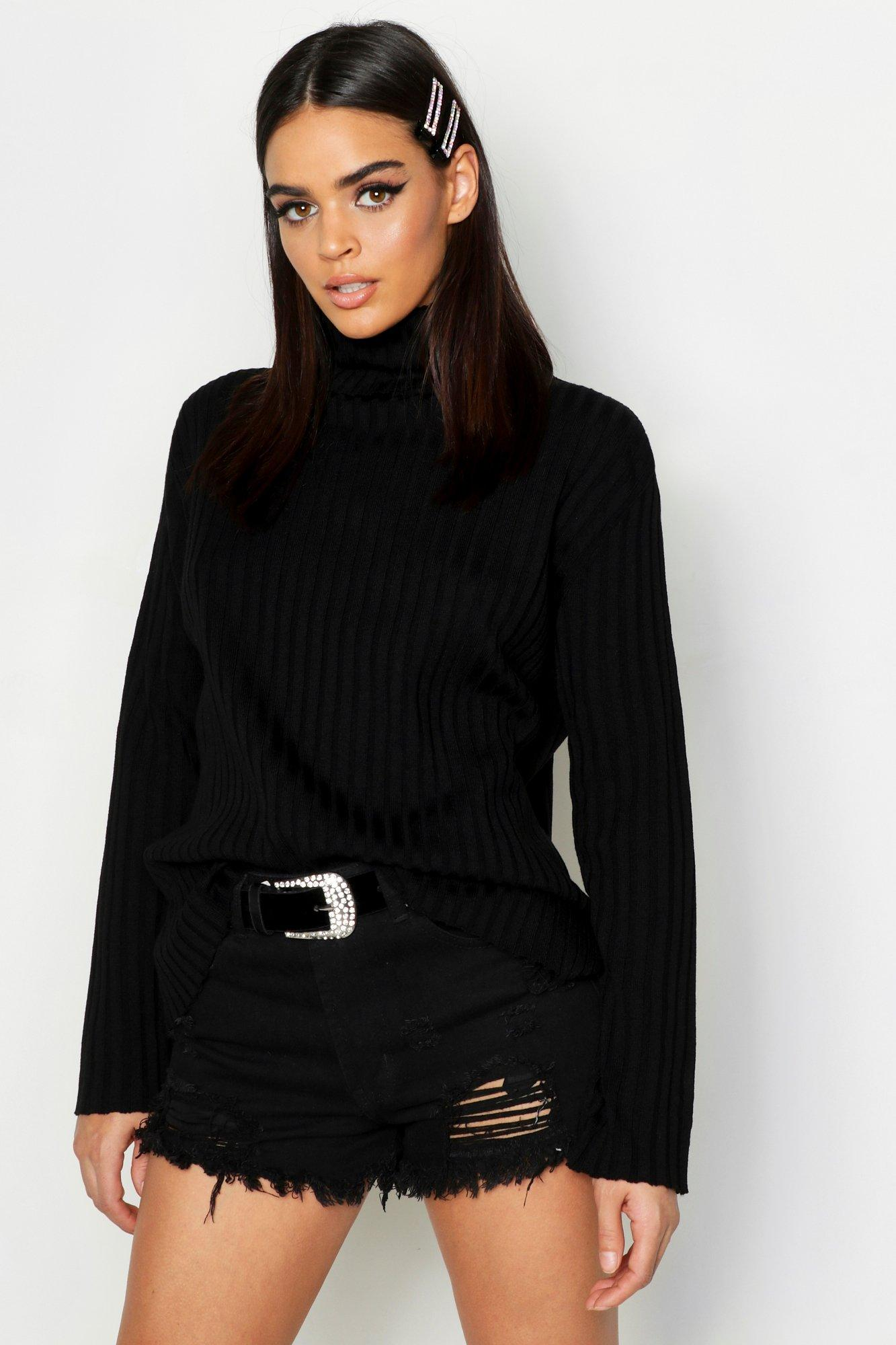 Roll Neck Flare Sleeve Jumper