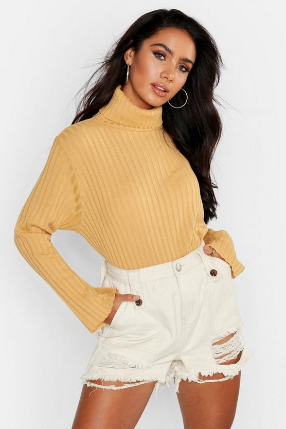 Womens Camel Roll Neck Flare Sleeve Sweater