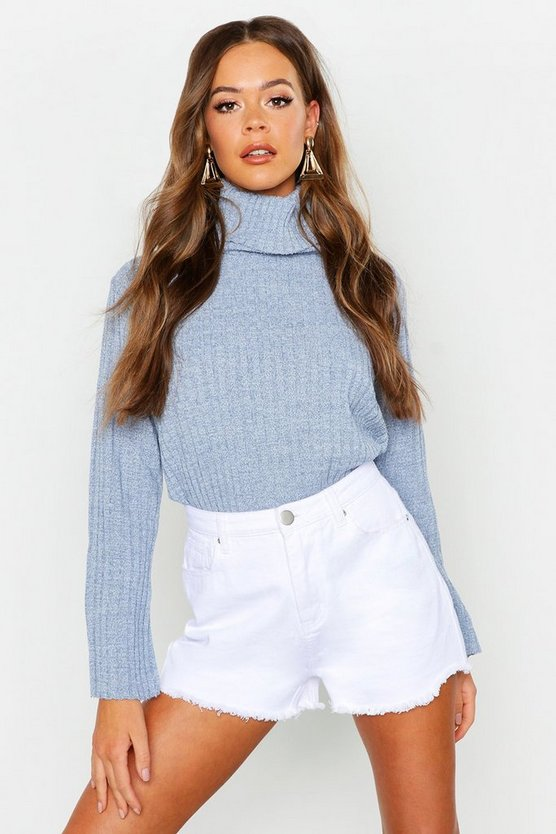 Womens Denim-blue Roll Neck Flare Sleeve Sweater