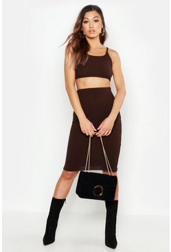 Womens Chocolate Knitted Midi Skirt Co-ord