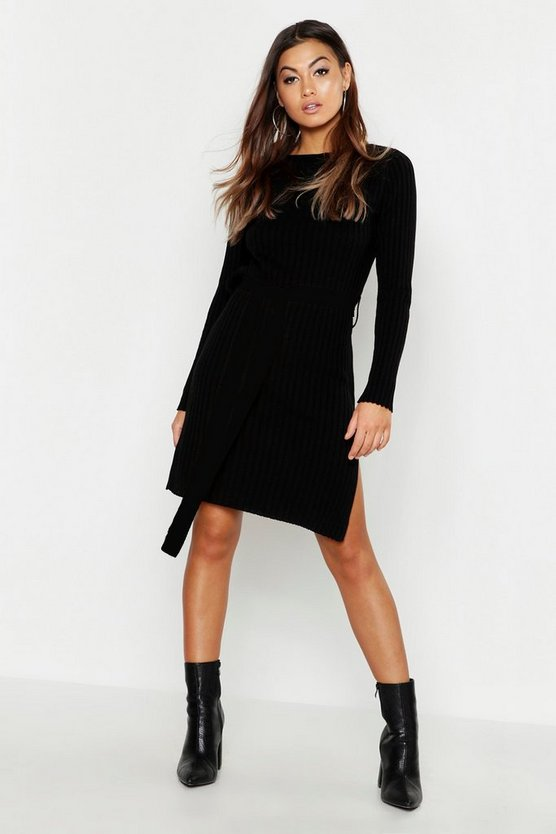 Belted Split Side Knitted Midi Dress