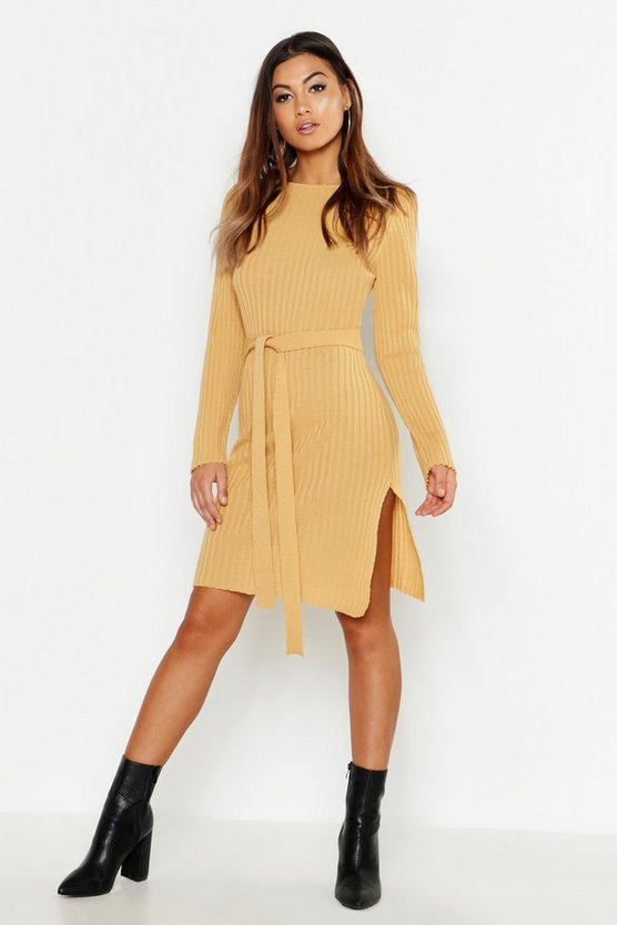 Womens Camel Belted Split Side Knitted Midi Dress
