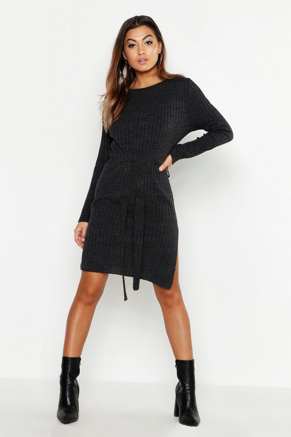 f33b0f712974 Belted Split Side Knitted Midi Dress