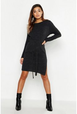 Belted Split Side Knitted Midi Dress, Charcoal, Donna