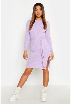 Womens Lilac Belted Split Side Knitted Midi Dress