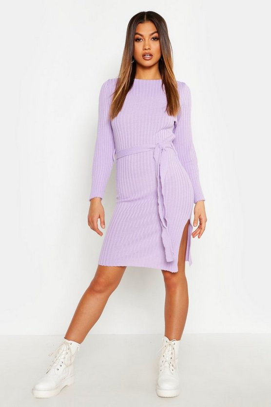 Belted Split Side Knitted Midi Dress, Lilac, Donna