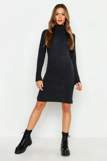 Womens Roll Neck Knitted Midi Dress