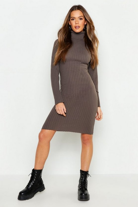 Womens Tobacco Roll Neck Knitted Midi Dress