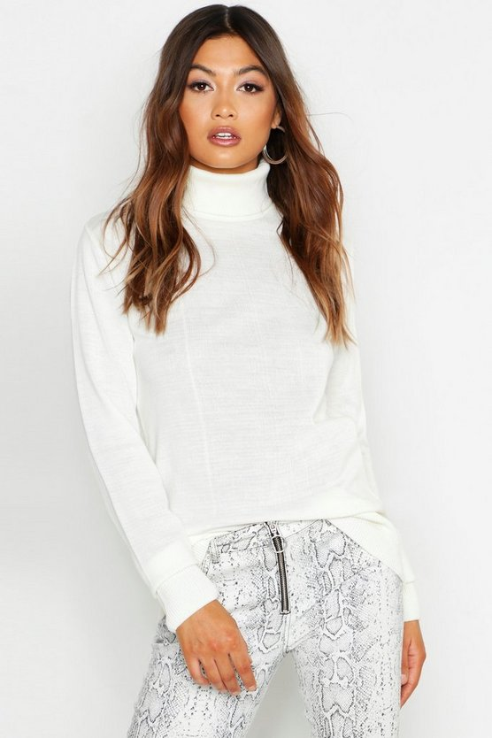Womens Cream Roll Neck Sweater
