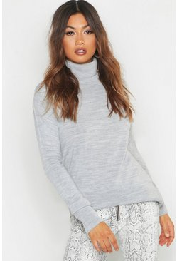 Roll Neck Jumper, Silver, Donna