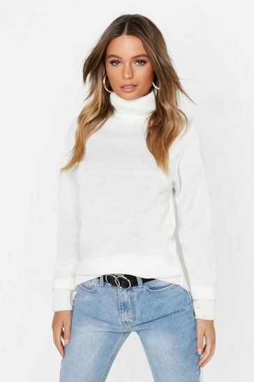 Womens Cream Roll Neck Knitted Top