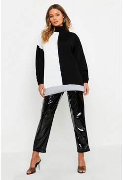 Womens Black Oversized Colour Block Sweater