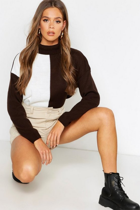 Chocolate Oversized Colour Block Sweater